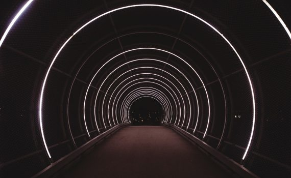 red and white tunnel with red carpet
